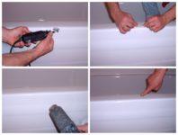 Как убрать скол на акриловой ванне